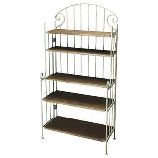 Butler Forsyth Off-white Cast Iron/Wood Baker's Rack