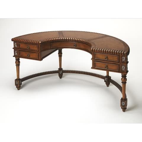 Butler Geneva Brown Leather, Wood Corner Desk