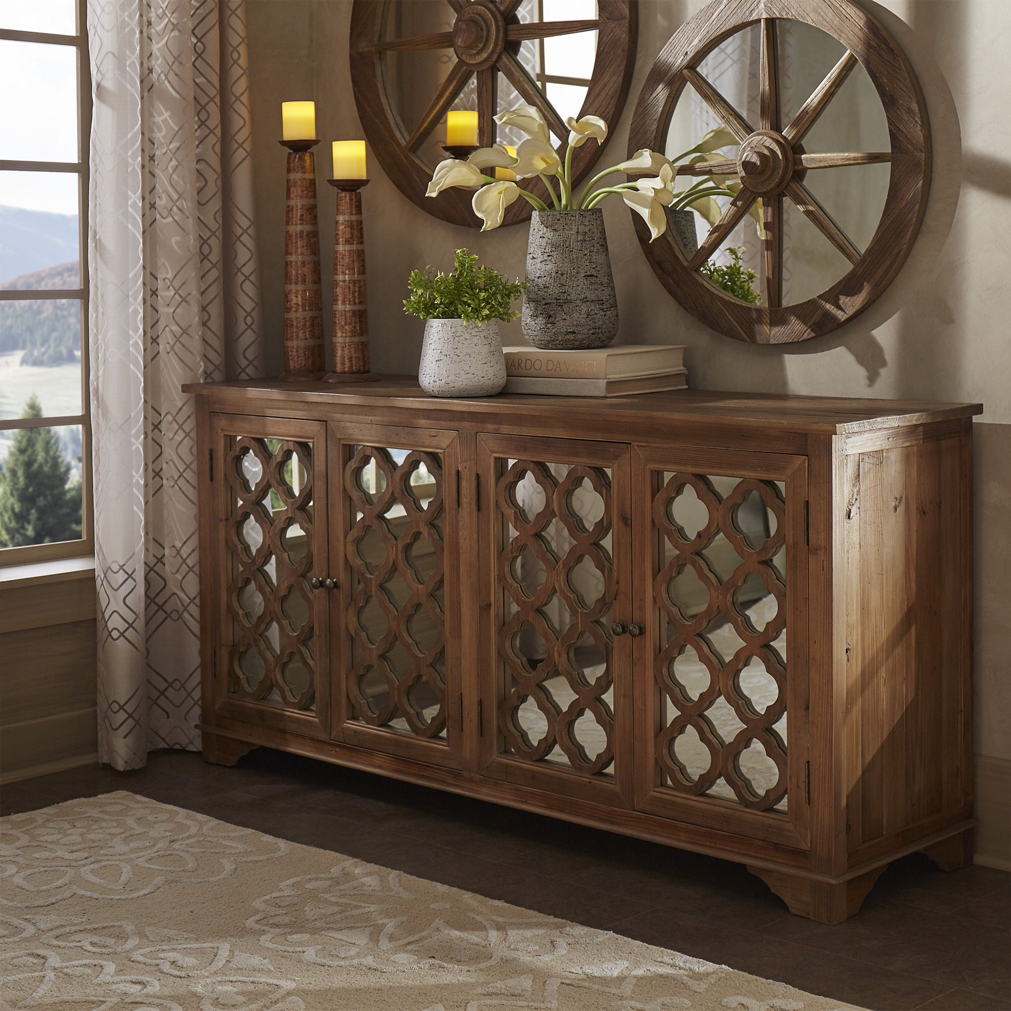 Hamptons Quatrefoil Reclaimed Wood Mirrored Buffet Sidebo...