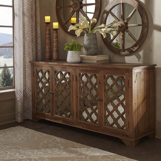 SIGNAL HILLS Hamptons Quatrefoil Reclaimed Mirrored Buffet Sideboard Cabinet