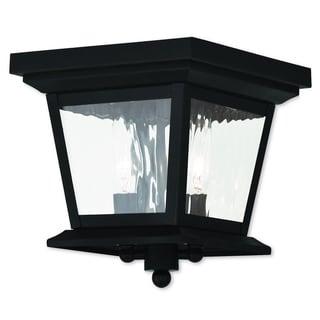 Livex Lighting Hathaway Black 2-light Outdoor Ceiling Mount Light