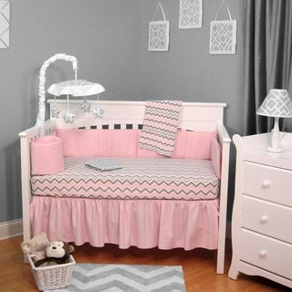 Chevron Pink/Gray 5-piece Baby Crib Bedding Set with Bumper