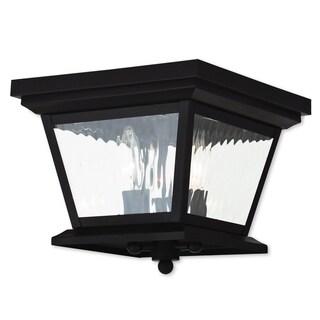 Livex Lighting Hathaway Brown Brass 3-light Outdoor Ceiling Mount Fixture