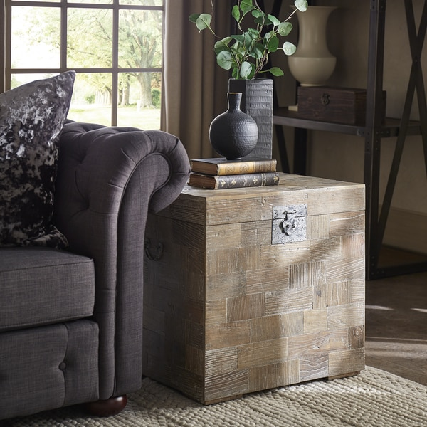 Tucker Reclaimed Wood Patchwork Storage Trunk Chest Side Table By INSPIRE Q  Artisan Part 78