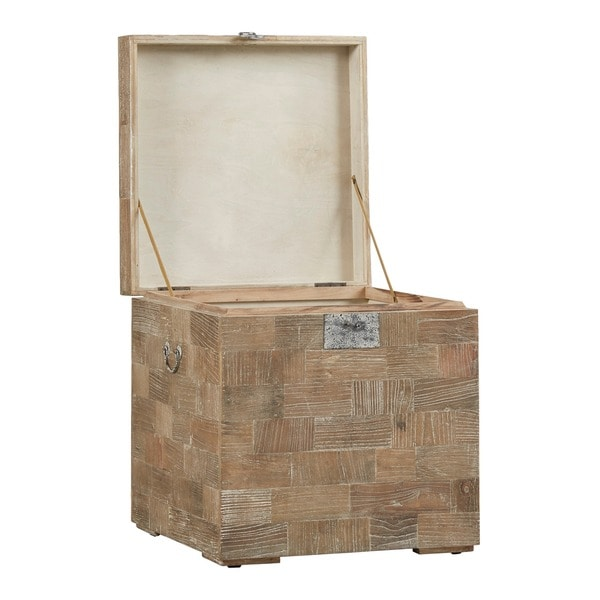 Tucker Reclaimed Wood Patchwork Storage Trunk Chest Side Table By INSPIRE Q  Artisan   Free Shipping Today   Overstock.com   18916770