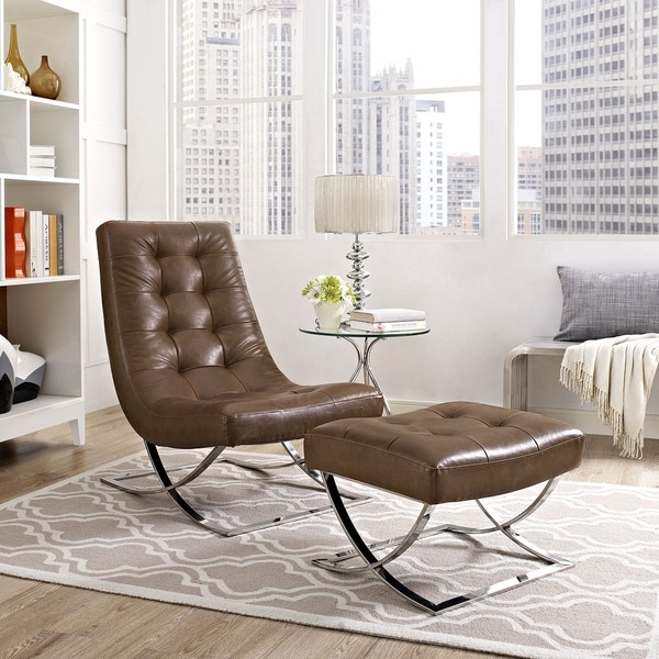 Slope Faux Leather Lounge Chair And Ottoman Set