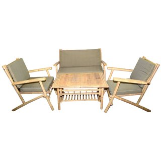 Outdoor Bamboo 4-peice Loveseat Coffee Table Set (Vietnam)