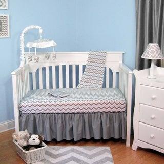 Blue and Grey Cotton Chevron 4-piece Baby Crib Bedding Set