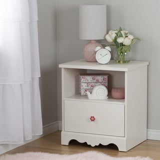 South Shore Lily Rose White Wash One-drawer Nightstand