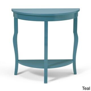 Clay Alder Home Cottonwood Wood Half Moon Console Table with Shelf (Option: Teal - Painted/Satin)