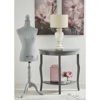 Kate and Laurel Lillian Wood Half Moon Console Table with Shelf
