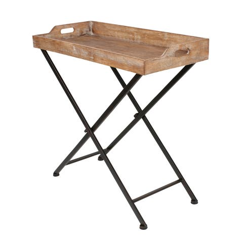 Kate and Laurel Marmora Black Metal and Rustic Wood Folding Tray Table
