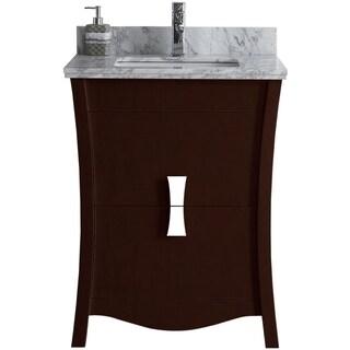 23.54-in. W x 18.03-in. D Birch Wood-Veneer Vanity Set In Coffee