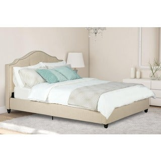 Avenue Greene Averna Beige Linen Upholstered Full Bed with Nailhead Detail