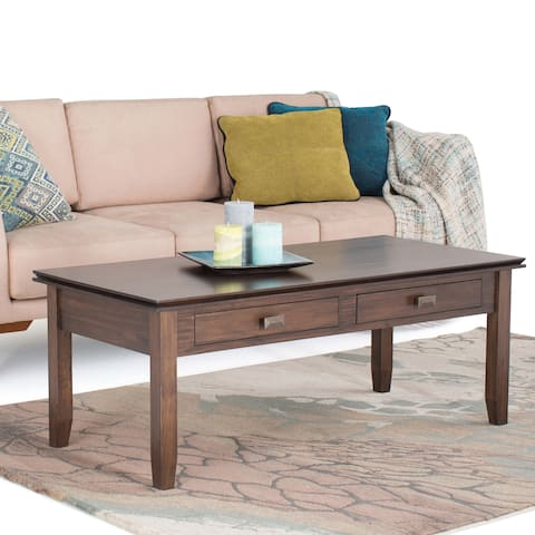WYNDENHALL Stratford Solid Wood 46 inch Wide Rectangle Contemporary Coffee Table in Natural Aged Brown - 46 Inches wide