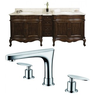 88-in. W x 22-in. D Birch Wood-Veneer Vanity Set In Distressed Antique Cherry With 8-in. o.c. CUPC Faucet