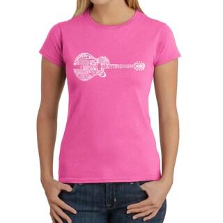 Los Angeles Pop Art Women's Cotton Country Guitar T-shirt