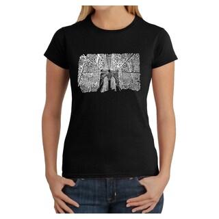Los Angeles Pop Art Women's Brooklyn Bridge Multicolor Cotton T-shirt