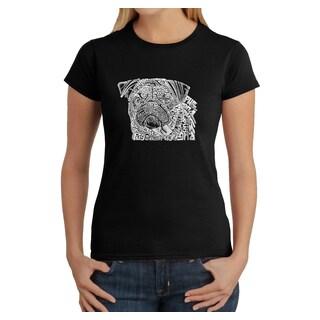Los Angeles Pop Art Women's 'Pug Face' Cotton Graphic T-shirt