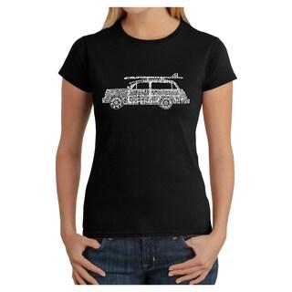 Los Angeles Pop Art Women's Woody Classic Surf Songs Cotton T-shirt