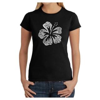 Los Angeles Pop Art Women's 'Mahalo' Multicolor Cotton T-shirt