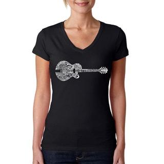 Los Angeles Pop Art Women's Country Guitar Black Cotton V-neck T-shirt