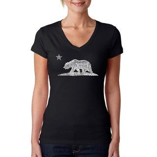 Women's California Bear V-neck T-shirt