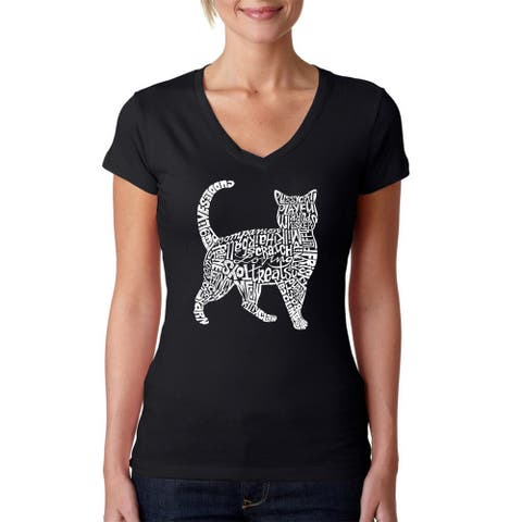 Los Angeles Pop Art Women's 'Cat' Black Cotton V-neck T-shirt