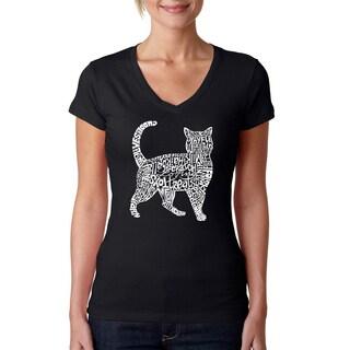 Los Angeles Pop Art Women's 'Cat' Black Cotton V-neck T-shirt