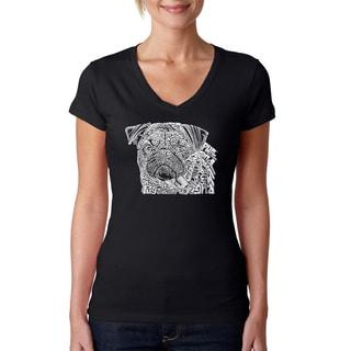 Los Angeles Pop Art Women's 'Pug Face' Black Cotton V-neck T-shirt
