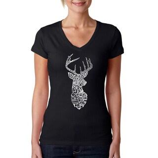 Los Angeles Pop Art Women's Types of Deer Black Cotton T-shirt