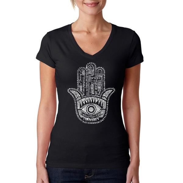 Women's Hamsa V-neck T-shirt. Opens flyout.