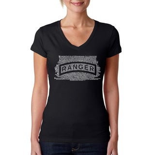 Los Angeles Pop Art Women's US Ranger Creed V-Neck T-Shirt