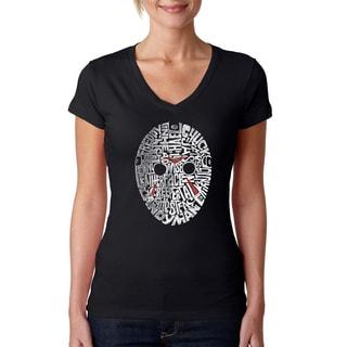Los Angeles Pop Art Women's Slasher Movie Villians Black Cotton V-neck T-shirt