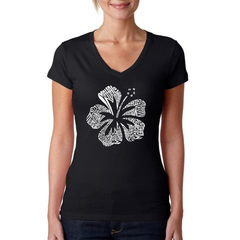 Los Angeles Pop Art Women's Mahalo Black Cotton V-neck T-shirt