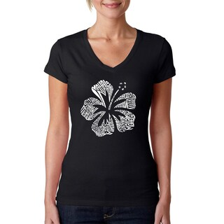 Los Angeles Pop Art Women's Mahalo Black Cotton V-neck T-shirt