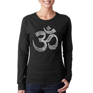 Los Angeles Pop Art Women's 'Om' Poses Cotton Long-sleeved T-shirt