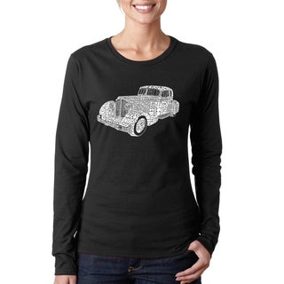 Los Angeles Pop Art Women's Mobsters Black Cotton Long-sleeved T-shirt