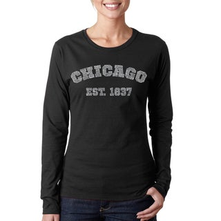 Los Angeles Pop Art Women's Chicago 1837 Black/Pink Cotton Long Sleeve T-shirt