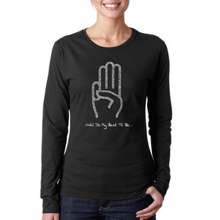 Los Angeles Pop Art Women's Girl Scout Law Black/Pink Cotton Long-sleeved T-shirt