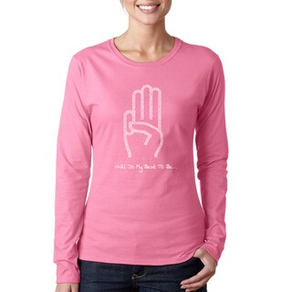 Los Angeles Pop Art Women's Girl Scout Law Black/Pink Cotton Long-sleeved T-shirt