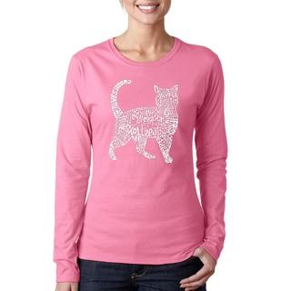 Los Angeles Pop Art Women's Cotton Cat Long-sleeve T-Shirt