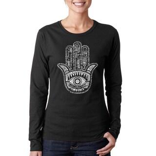 Los Angeles Pop Art Women's Hamsa Black/Pink Cotton Long-sleeve T-shirt