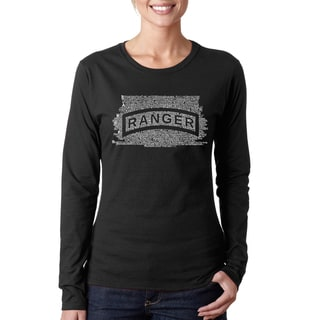 Los Angeles Pop Art Women's Black Cotton Long Sleeve T-shirt