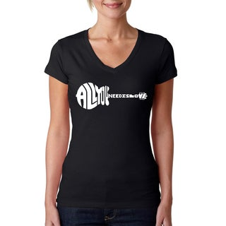 Los Angeles Pop Art Women's All You Need Is Love Black Cotton V-neck T-shirt