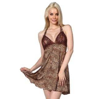 Miorre Women's Leopard Print and Lace Halter Chemise with Matching G-string