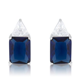 Women's Sterling Silver Classic Sapphire Cubic Zirconia Stud Earrings