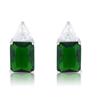 Rachel Sterling Silver Emerald, Cubic Zirconia Stud Earrings