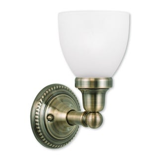 Livex Lighting Classic Antique Brass Steel/Frosted Glass 1-light Bath Light