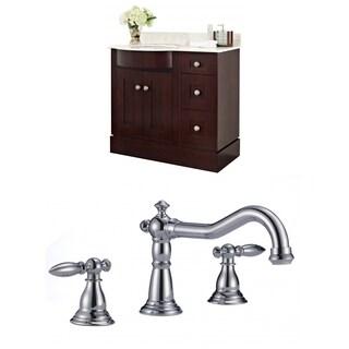 36-in. W x 22-in. D Cherry Wood-Veneer Vanity Set In Coffee With 8-in. o.c. CUPC Faucet
